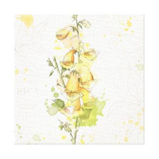 Gelbes mit Blumenspritzen Leinwanddruck