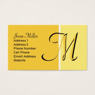 gelbes Monogramm Visitenkarte
