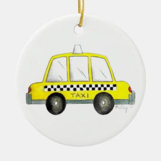 Gelbes New York City kariertes Fahrerhaus-Geschenk Rundes Keramik Ornament