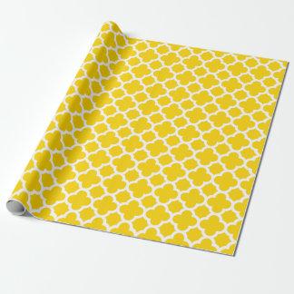 Gelbes Quatrefoil Gitter-Muster-Packpapier Geschenkpapier