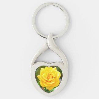 Gelbes Rosen-Herz-Schlüsselkette Schlüsselanhänger