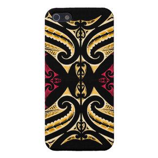 Gelbes rotes Stammes- Maori- tatau, das polytat iPhone 5 Schutzhüllen