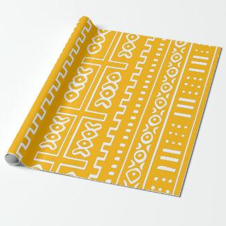 Gelbes Schlamm-Stoff-Muster Geschenkpapier