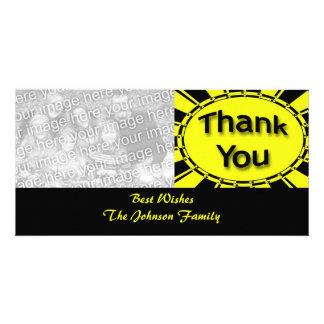 gelbes Schwarzes danken Ihnen Foto Karten Vorlage
