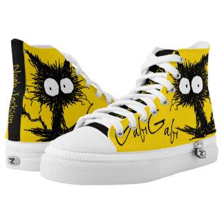 Gelbes schwarzes Unkempt Kätzchen GabiGabi Hoch-geschnittene Sneaker