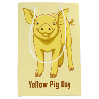 Gelbes Schwein-Tagesam 17. Juli niedliches Ferkel Mittlere Geschenktüte