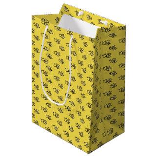 Gelbes Sommer-Bienen-Muster Mittlere Geschenktüte