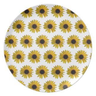 Gelbes Sonnenblume-Muster Melaminteller