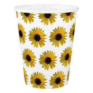 Gelbes Sonnenblume-Muster Pappbecher