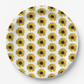 Gelbes Sonnenblume-Muster Pappteller