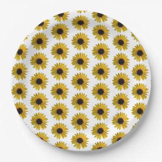 Gelbes Sonnenblume-Muster Pappteller 22,9 Cm