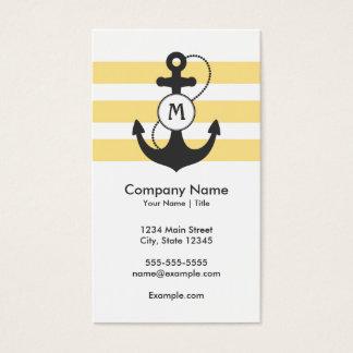 Gelbes und graues Anker-nautischmonogramm Visitenkarte