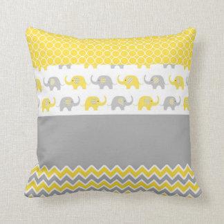 Gelbes und graues Elefant-Kissen Kissen