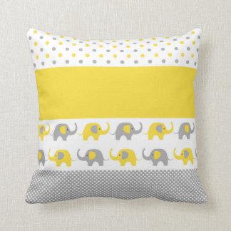 Gelbes und graues Mini-Elefant Kissen