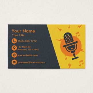 Gelbes und orange Mikrofon Visitenkarte