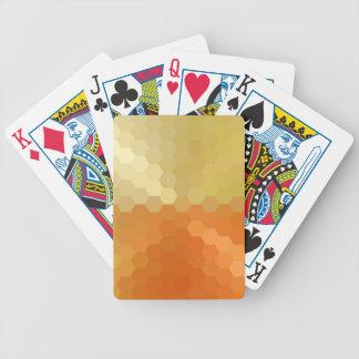 Gelbes und orange sechseckiges nahtloses Muster Spielkarten
