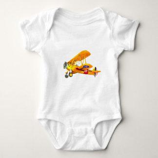 Gelbes und rotes Ausbildungs-Doppeldecker-Fliegen Babybody