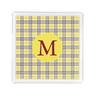 Gelbes und rotes kariertes Tartan-Muster-Monogramm Acryl Tablett