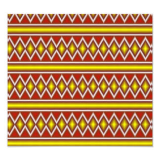 Gelbes und rotes Stammes- Muster Foto Drucke