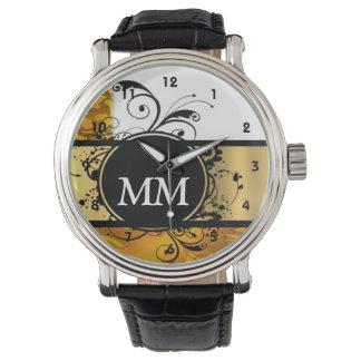 Gelbes und schwarzes Monogramm auf Weiß Armbanduhr