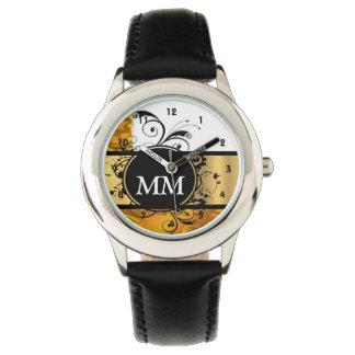 Gelbes und schwarzes Monogramm auf Weiß Uhr