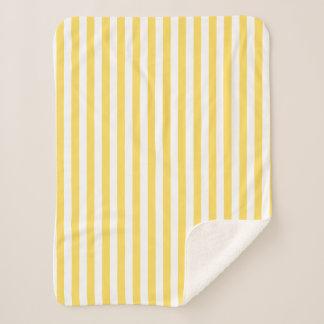 Gelbes und weißes Streifen-Muster Sherpadecke