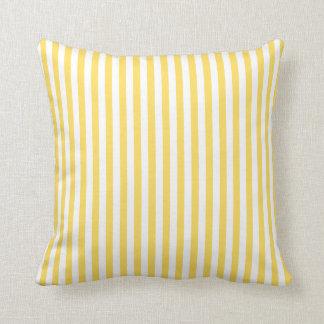 Gelbes und weißes Streifen-Muster Zierkissen