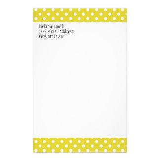 Gelbes und weißes Tupfen-Gewohnheits-Briefpapier Briefpapier