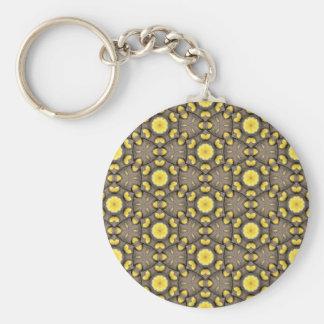 Gelbes Vintages Entwurfsmuster Schlüsselanhänger