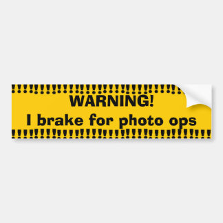 Gelbes warnendes Foto Ops Autoaufkleber