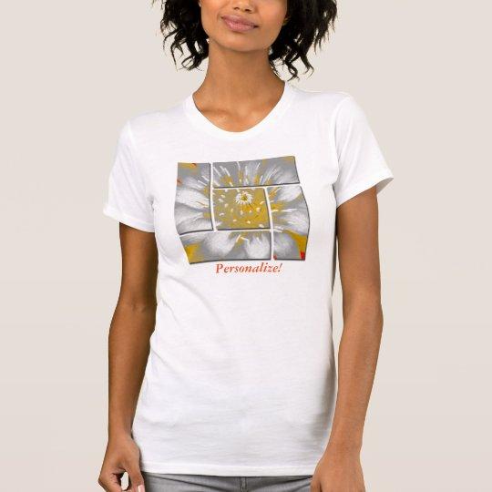 Gelbes Wasser-Lilien-Quadrat-Muster-Entwurf T-Shirt