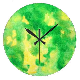 Gelbgrün-große runde Wanduhr
