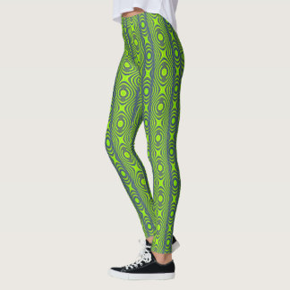 Gelbgrün und blaues Retro Muster Leggings
