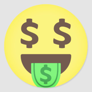 Geld-Mund Emoji Runder Aufkleber