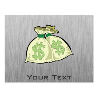 Geld-Taschen; Metall-Blick Postkarte
