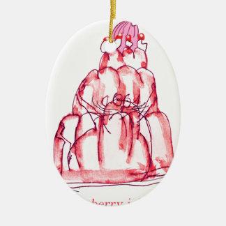 Geleekatze der tony fernandess Erdbeer Ovales Keramik Ornament