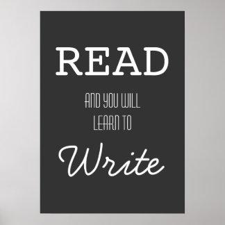 Gelesen und Sie lernen, Plakat zu schreiben