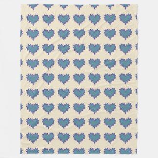 Gelocktes Herz-graues Blau auf zitronengelbes Fleecedecke