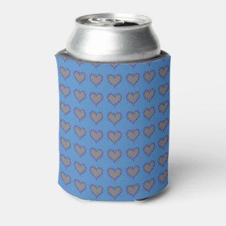 Gelocktes Herz-Silber auf der blauen Soda-Dose Dosenkühler