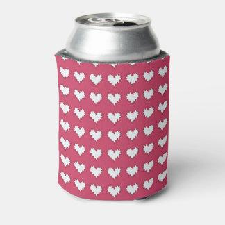 Gelocktes Herz-Weiß auf der dunklen rosa Soda-Dose