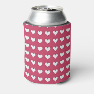 Gelocktes Herz-Weiß auf der dunklen rosa Soda-Dose Dosenkühler