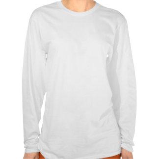 Gemacht in der USA-Herz-Flaggen-Damen-langen Hülse T-shirt