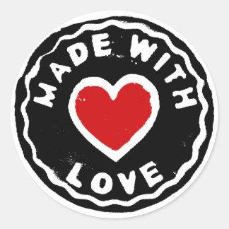 Gemacht mit Liebeaufkleber-Zuhause machte Produkte Runder Aufkleber