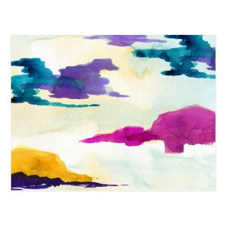 Gemalte bunte abstrakte Wasserfarbe-Postkarte Postkarte