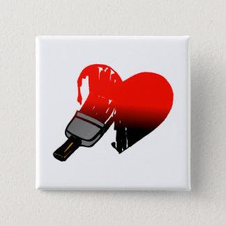 Gemalte Liebe Quadratischer Button 5,1 Cm