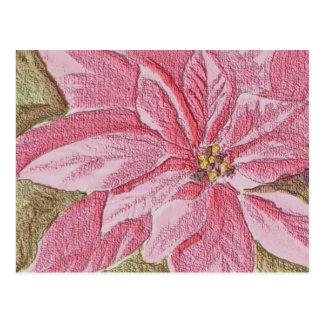 Gemalte Poinsettia-WeihnachtsBlume Postkarte