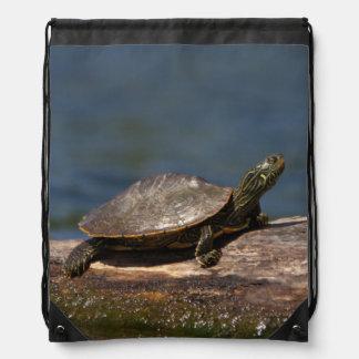 Gemalte Schildkröte auf einem Klotz Sportbeutel