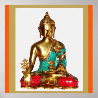 Gemalte Sitzposition BUDDHAS Messing   MEDITATION Poster