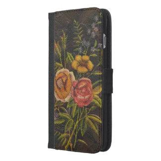 Gemalte Vintage Blumen-Rose iPhone 6/6s Plus Geldbeutel Hülle