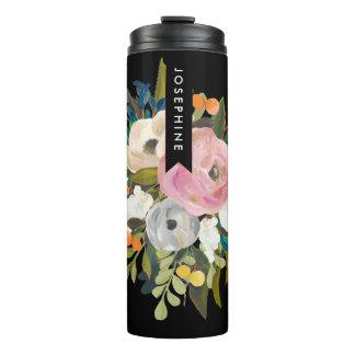 Gemalter Blumenblumenstrauß-personalisierter Name Thermosbecher